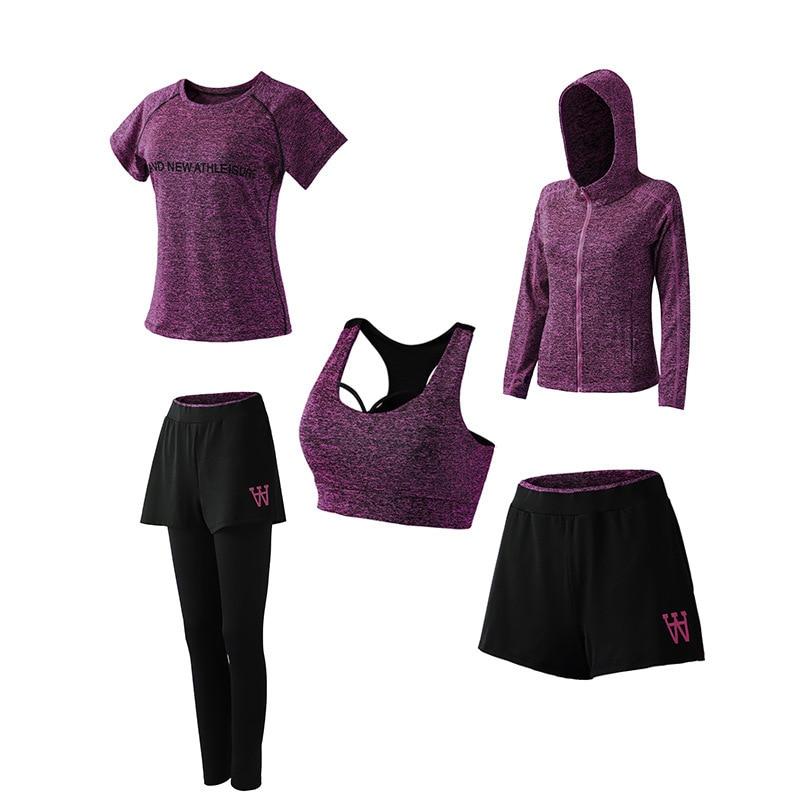 <+>  Наборы для йоги женщин 5 Five Pieces Наборы для бега Фитнес Одежда для бега Женщина Спортивный костю ①