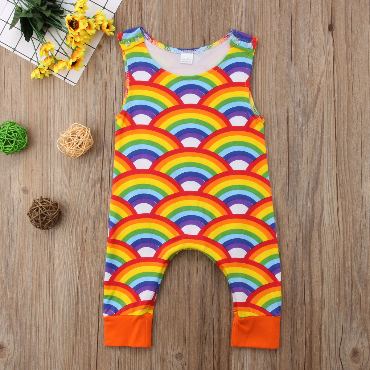 Baby Boy Girl Rainbow   Rompers   Newborn Infant Jumpsuit Toddler Cute Summer Clothes Cotton Sleeveless Unisex Baby Clothing