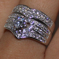 Eternity Lady's Silver Round Simulated Diamond Stone CZ Paved  Wedding Heart Ring Sets Size 6-10