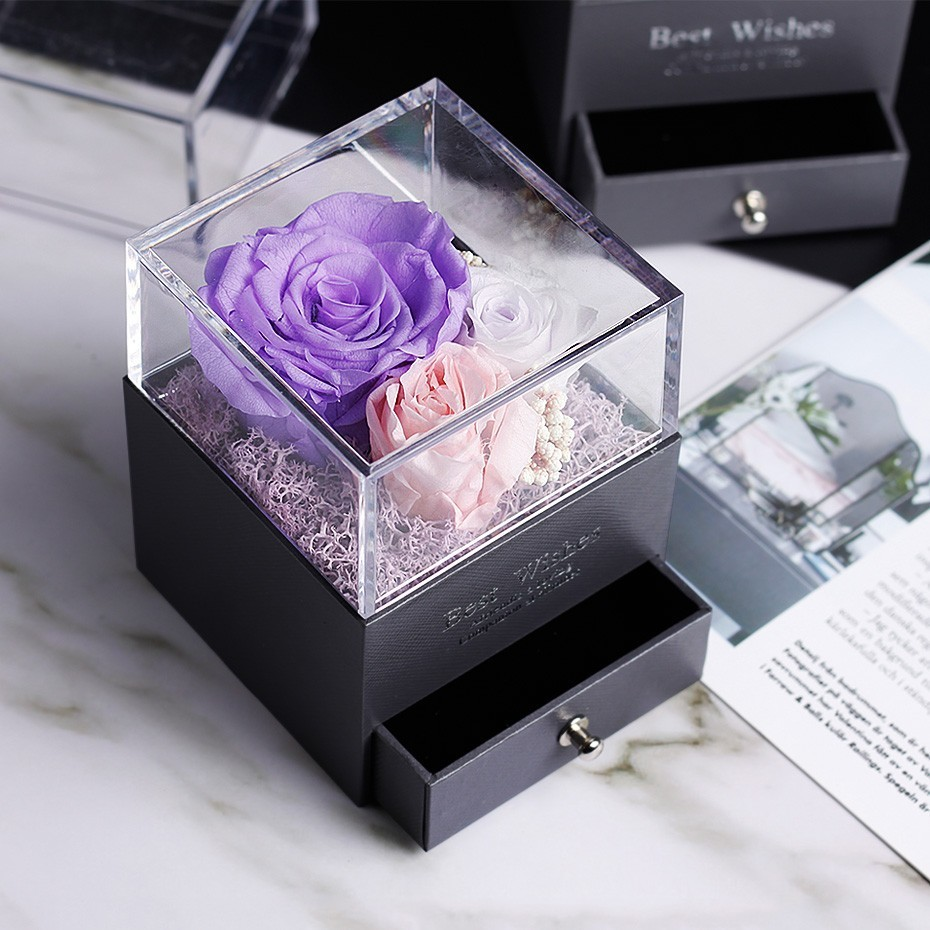 Средняя красота и чудовище Роза, Роза в стеклянном куполе, навсегда Роза, красная роза, консервированная Роза, Белль Роза, особый романтический подарок - Цвет: Лиловый