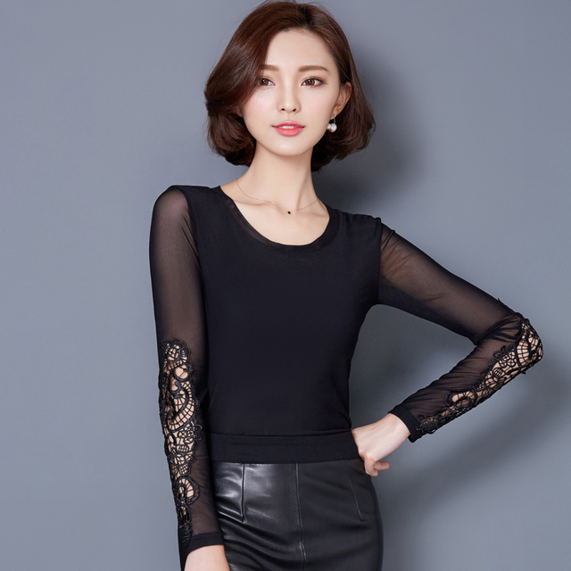 2017 Spring and Autumn Ladies Sexy T Shirt Women Long Sleeve Black Gauze Mesh Tshirt and Tops Plus Size Womens Clothing