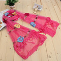 Shocking Show Fashion Women Long Wrap Scarf Embroidery Lace Tassel Shawl Voile Scarf Scarves