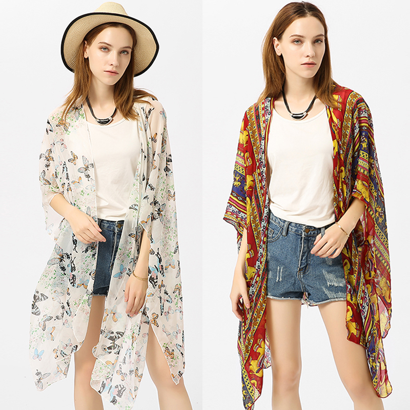 Beach Cardigan Flower Printed Summer Chiffon Blouse 2018 Retro Shirts See Through Sunscreen Beach Cardigan Bathing Suit Cover Up