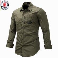 프레드 마샬 2019 패션 밀리터리 셔츠 긴 소매 멀티 포켓 캐주얼 셔츠 브랜드 의류 육군 녹색 Camisa Masculina 117