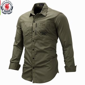 Image 1 - 프레드 마샬 2019 패션 밀리터리 셔츠 긴 소매 멀티 포켓 캐주얼 셔츠 브랜드 의류 육군 녹색 Camisa Masculina 117