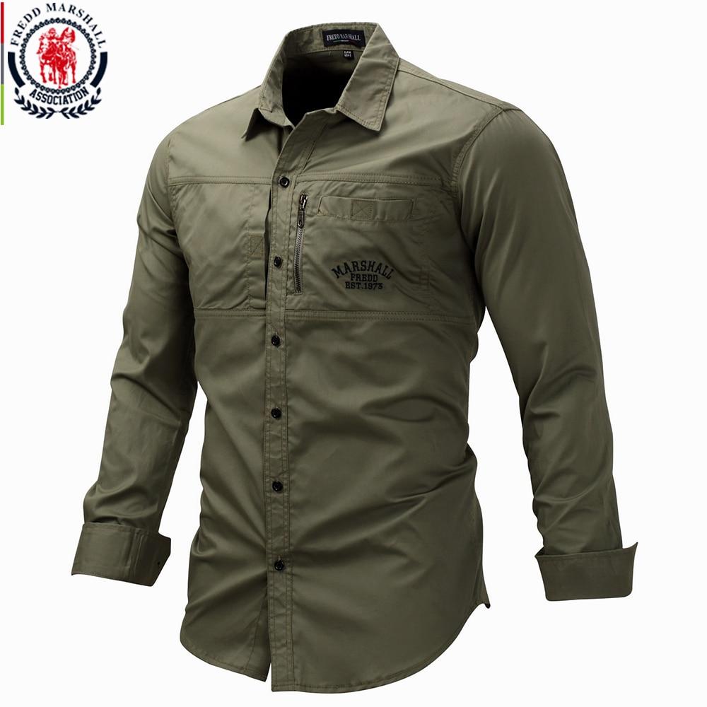 Fredd Marshall 2019 Fashion Military Shirt Long Sleeve Multi pocket Casual Shirts Brand Clothes Army Green Camisa Masculina 117camisa masculinacamisa brandcamisa fashion -
