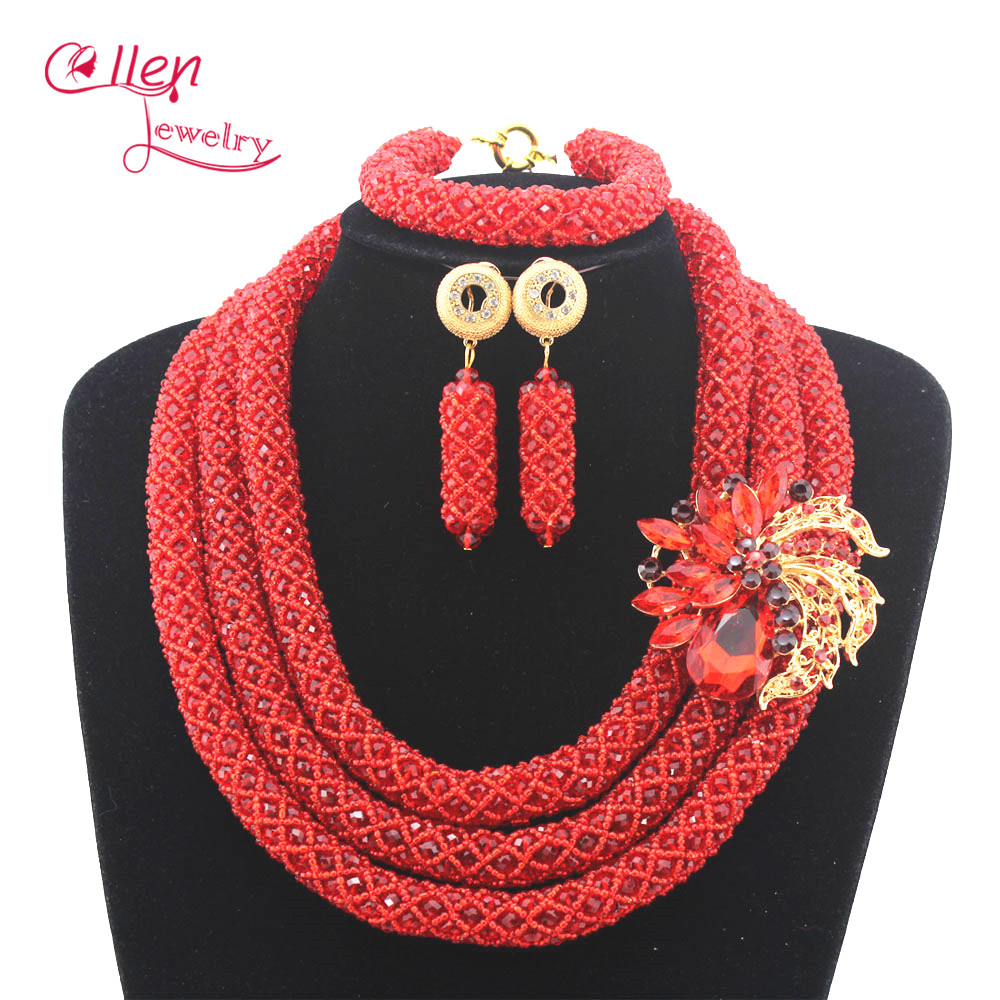 Nigerian Wedding Luxury Bridal Jewelry Set African Beads Jewelry Set Handmade statement Necklace Set Bracelet Earrings N0007Nigerian Wedding Luxury Bridal Jewelry Set African Beads Jewelry Set Handmade statement Necklace Set Bracelet Earrings N0007