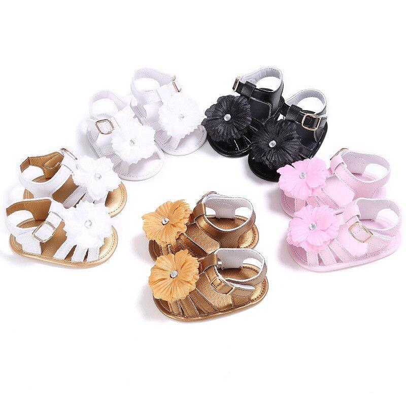 5 Colors Summer Baby Girls Boys Shoes First Walkers Big Flower Newborn Kids Bebe Beach Solid