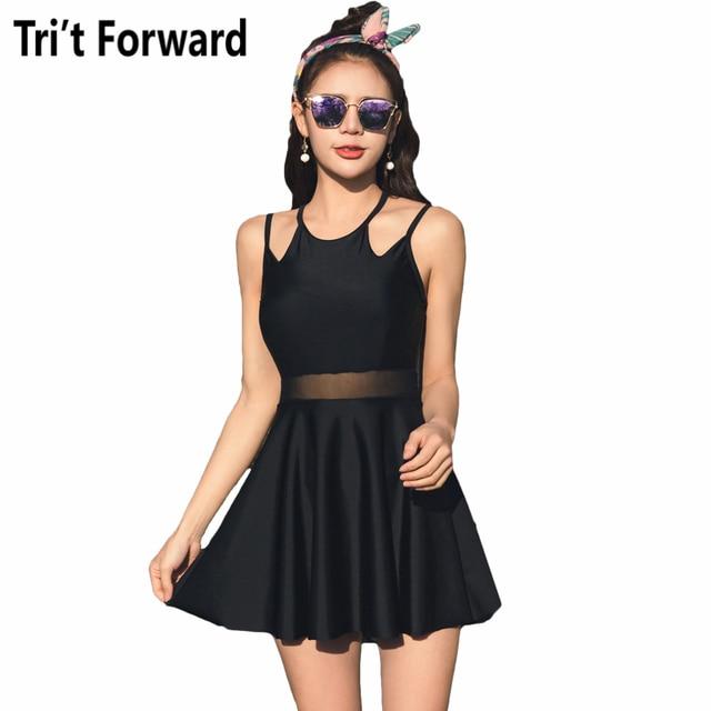 2018 Stylish Summer One Piece Swimsuit Black Slim Bathing Suit Reserved High Neck Swimwear Underwire Push Up Swimming Dress