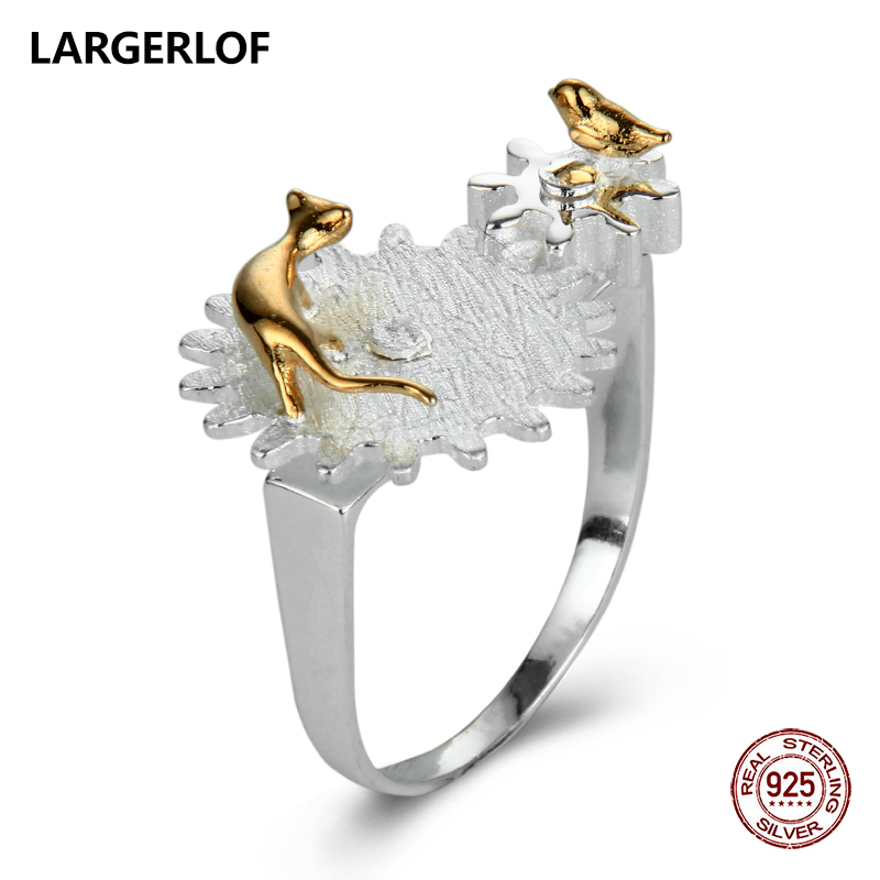 LARGERLOF Real 925 Sterling Silver Ring Handmade Fine Jewelry Female Rings 925 Silver Jewelry RG57006 largerlof 925 silver ring women handmade fine jewelry silver 925 jewelry ring silver 925 jz12077