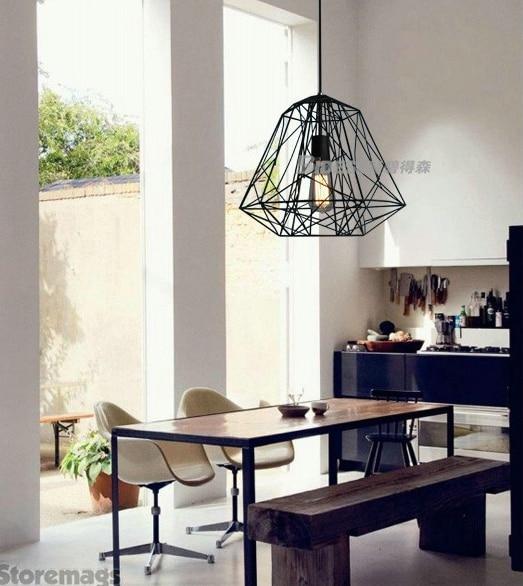 ФОТО Modern Hive Iron Diamond Cage Lustre Pendant Light Rustic Lamp Luminaire  Decor Bar Fixture