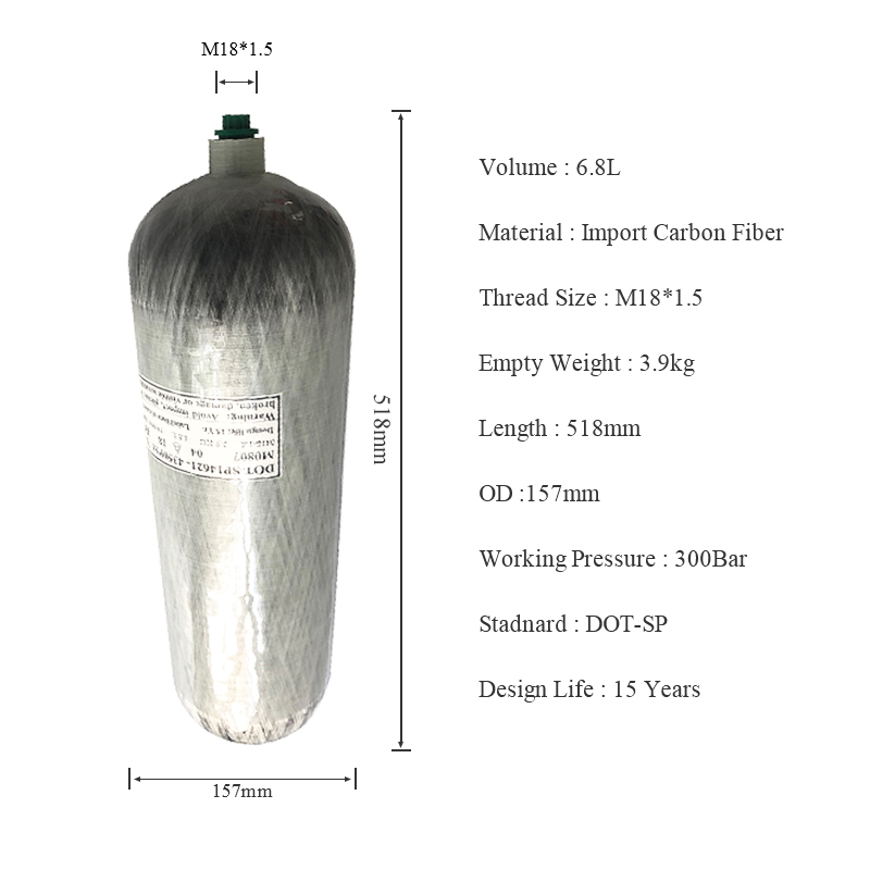 AC2680 USA FREE SHIPPING 6.8L DOT Thread M18*1.5 High Pressure Carbon Fiber Pcp Air Gun Tank Gas Cylinder Drop Shipping Acecare