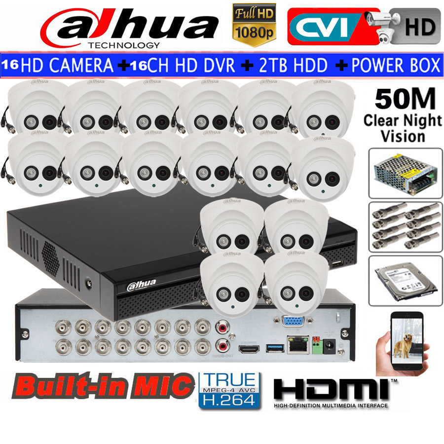 DAHUA 1080 P sécurité CVI caméra intégré Mic CCTV IR dôme caméra HAC-HDW1200E-A 16CH HCVR5116HS-S3 kit de caméra HDD avec boîtier d'alimentation