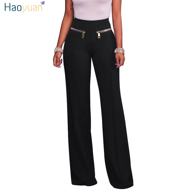 HAOYUAN Wide Leg Pants Trousers Women Fall 2018 Fashion Work Gold Zipper Detail High Waisted Palazzo Pants Loose Pantalon Femme
