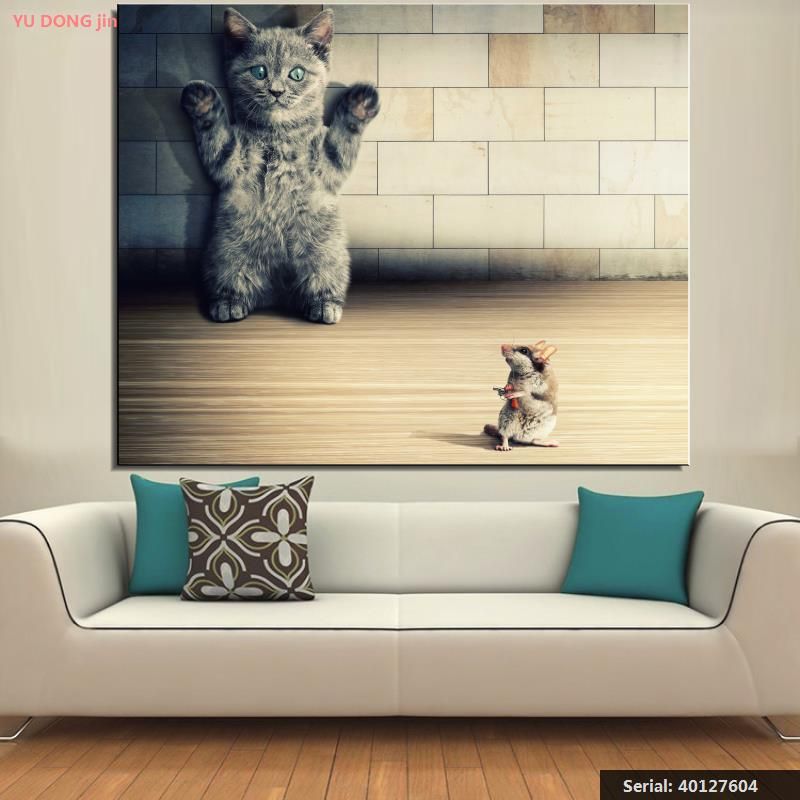 Surrender cat font b Animal b font Classical oil Painting Drawing art Spray Unframed Canvas wall