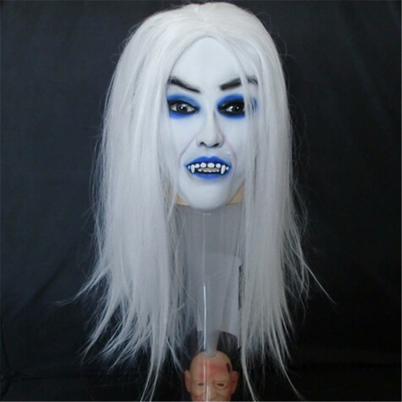 Хэллоуин Супер Страшные маски полноценный белый волосы и голубые глаза и длинные волосы белый вампир маска MZ137