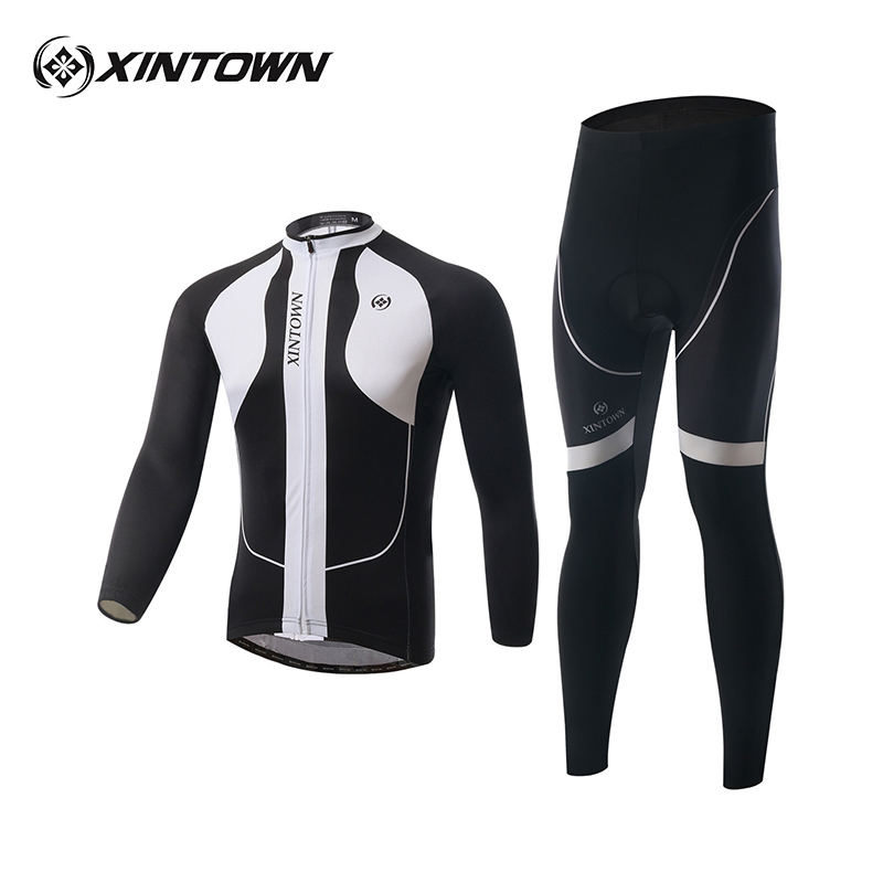 XINTOWN 2017 Winter Thermal Fleece Long Sleeved Cycling Set Outdoor Sports Bicycle Clothing Men Windproof Bicycle Sportswear 21 veobike men long sleeves hooded waterproof windbreak sunscreen outdoor sport raincoat bike jersey bicycle cycling jacket