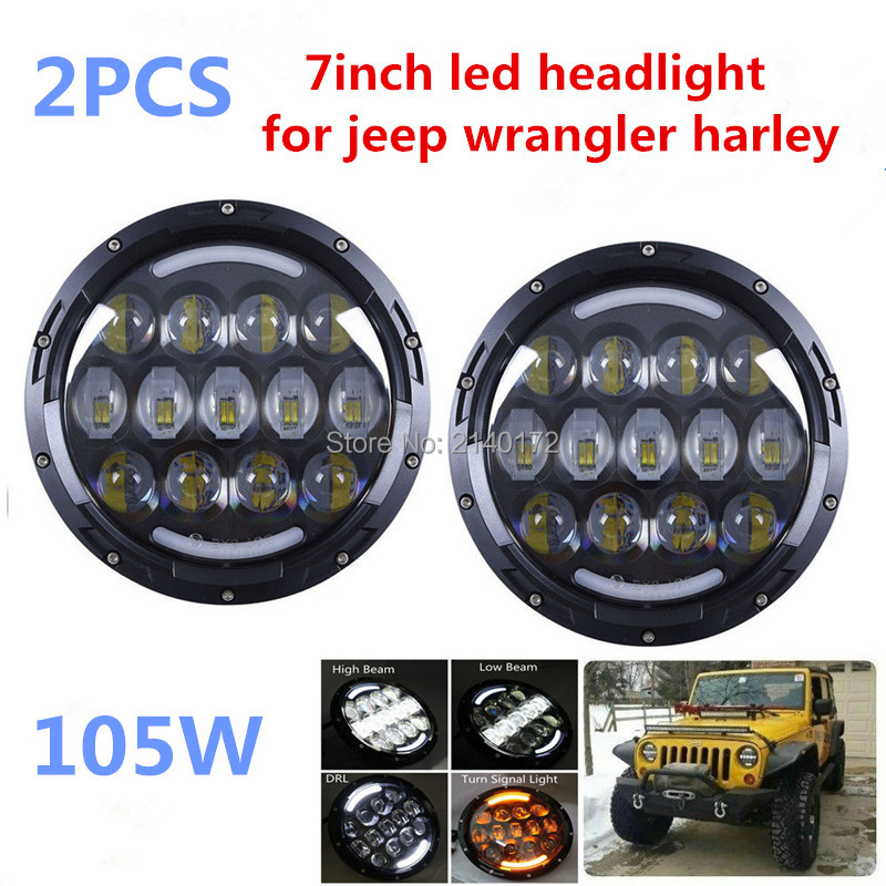 High Low Dual Beam Round 7INCH DRL Turn Signal 7'' 105W LED Projection headlight for Harley Davidson Jeep Wrangler JK 2 Door 2 pcs led headlight led offroad lights 7inch 40w 30w high low beam for harley davidson motorcycle jeep suv