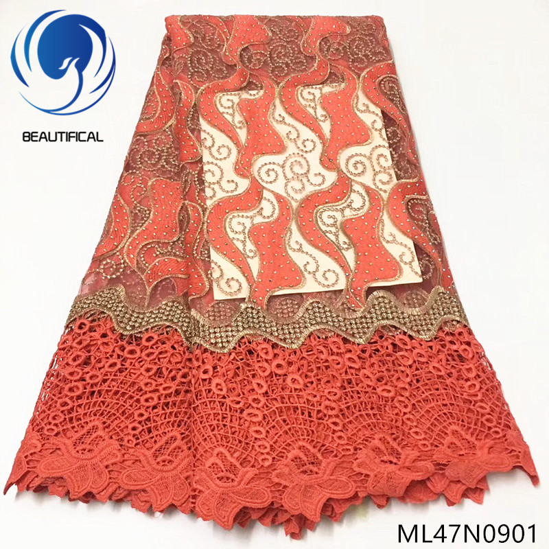 Beautifical african lace fabrics embroidery stones net lace chemical lace fabric for women dress 2019 New design 5yards ML47N09Beautifical african lace fabrics embroidery stones net lace chemical lace fabric for women dress 2019 New design 5yards ML47N09