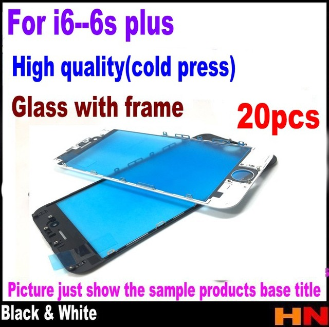 20 قطعة الصحافة الباردة آيفون 6 4.7 6 plus 5.5 6s 6s زائد إصلاح أبيض أسود شاشة تعمل باللمس عدسة الزجاج الخارجي مع الجمعية الإطار