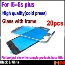 20 adet soğuk basın iPhone 6 4.7 6 artı 5.5 6s 6s artı onarım beyaz siyah dokunmatik ekran Lens dış cam çerçeve meclisi ile