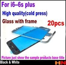 20Pcsเย็นสำหรับiPhone 6 4.7 6 Plus 5.5 6S 6S Plus RepairสีขาวสีดำTouchเลนส์หน้าจอกระจกด้านนอกที่มีกรอบ