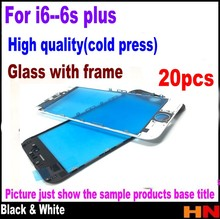 20pcs cold press For iPhone 6 4.7 6 plus 5.5 6s 6s plus Repair white black Touch Screen Lens Outer Glass with frame assembly