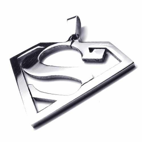 Fashion Jewelry Superman Logo-Shaped S Pendant 316L Stainless Steel Necklaces Mens Necklaces 18659