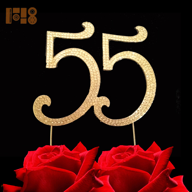 15 Pieces LotNumber 55 For 55th Birthday Cake Topper Anniversary Party Decorations