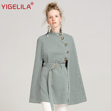 YIGELILA Latest Autumn Women High Street O-neck Single Breasted Batwing Sleeve Belt Slim Plaid Cape Coat Poncho Cloak 9600(China)