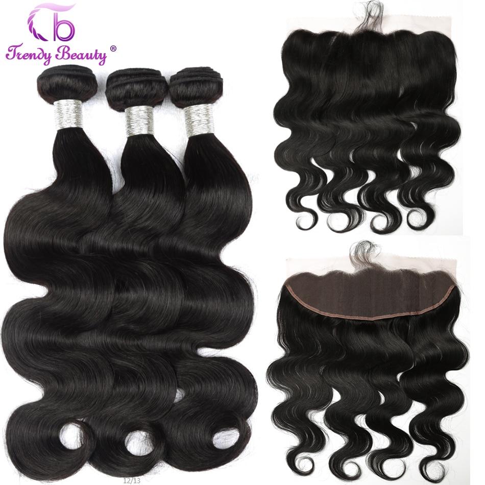 Trendy Beauty Hair Brazilian Body Wave Human Hair 3 Bundles with 13x4 Ear To Ear Lace
