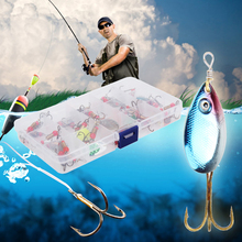 30pcs Assorted Fishing Lures Metal Fishing Baits Bass Spinner Baits with Sharp Fishing Hook 15 Grids Fishing Tackles Box