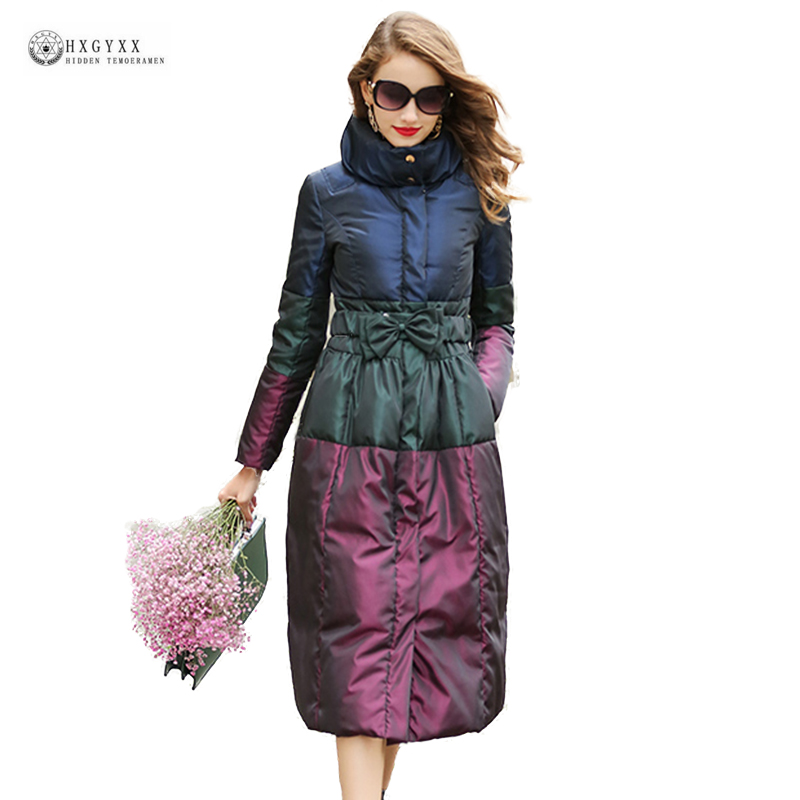 2018 New Hot Sale Down Coat Women Patchwork Bow Plus Size Duck Down Jackets Stand Collar Parka Warm Long Outerwear Female Ok1314