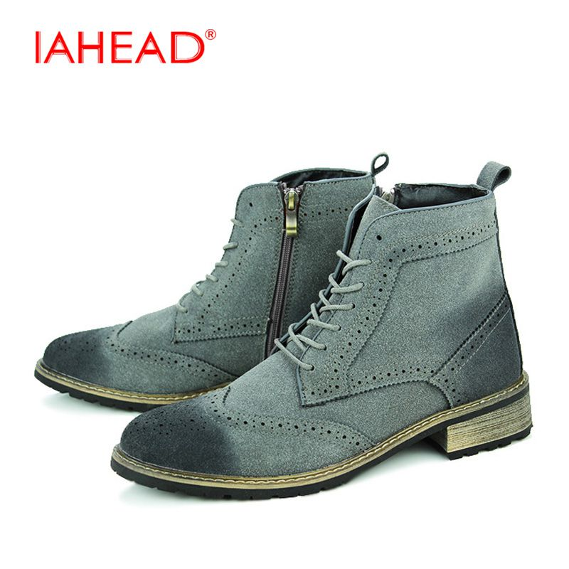 купить Chelsea Boots Men High Quality Men Ankle Boots Casual Lace Up Safety Work Popular High Top Shoes Snow Boot MH510 дешево