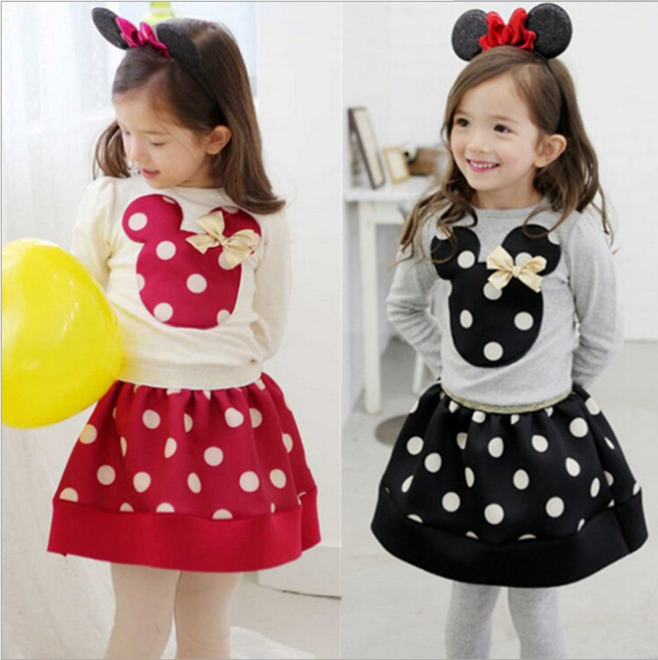 2016 new Butterfly knot dress set baby kids suits 2 pcs fashion girls clothing sets minnie children clothes bow tops retail retail 2014 2pc baby girls kids rabbit tops dot denim overalls dresses outfit clothes children s clothing set suits