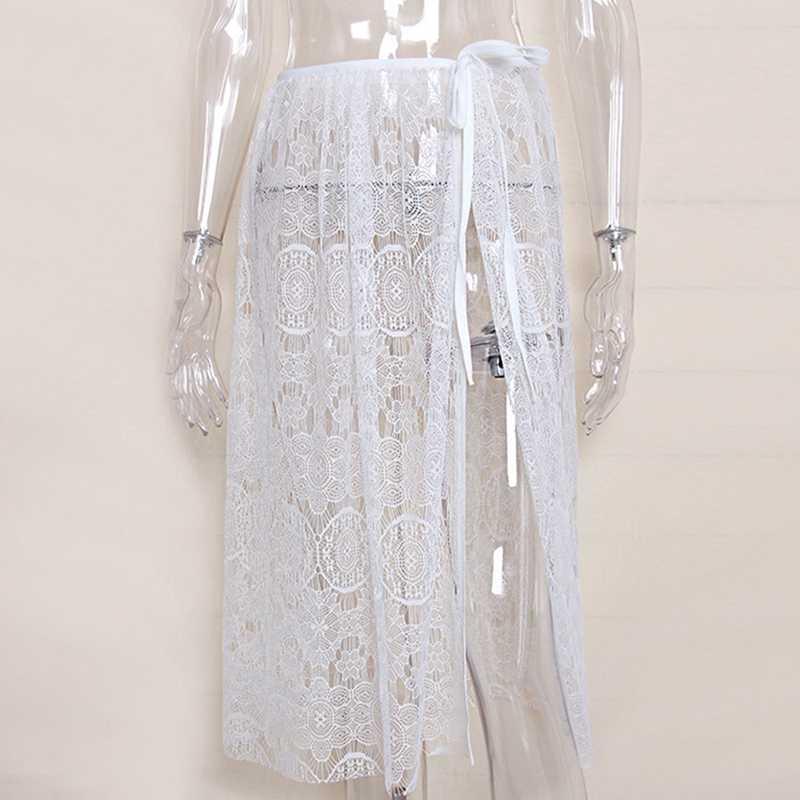 2018 nouveau Sexy noir blanc à lacets Pareo robe de plage Crochet évider femme couverture de plage couvrir plage porter des vêtements de plage femmes