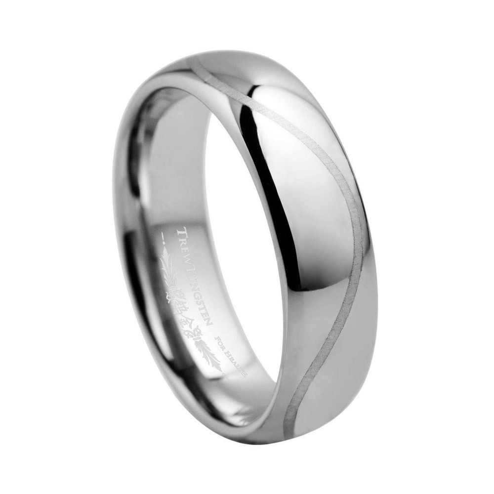 Domed Tungsten Carbide Wedding Ring With Laser Engraved For Man Width 6mm Turi0008m Custom Engraving Inside Of The In Engagement Rings From Jewelry