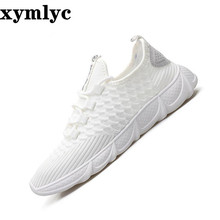 2019Korean mesh explosion woven mens shoes solid color round head slip wear sneakers laceup light sweat-Absorbant  casual