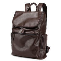 DERMAGOR Famous Brand Korean Style Leather School Backpack Bag For College Simple Design Men Casual Daypacks