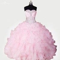 RSE278 באיכות גבוהה Yiaibridal מתוקים 16 שמלות Vestidos דה 15 Anos Sweetherat הנפוח אורגנזה האור ורוד Quinceanera שמלות