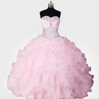 RSE278 High Quality Yiaibridal Vestidos De 15 Anos Sweet 16 Ball Gowns Sweetherat Puffy Organza Light