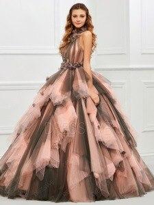 Image 4 - 빈티지 핑크와 블랙 두 톤 1950 s 컬러 웨딩 드레스와 컬러 프릴 tulle 볼 가운 고딕 웨딩 드레스
