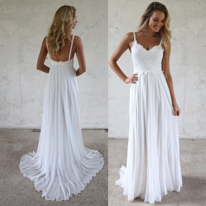 Simple Wedding Dresses 2019: Simple Summer Beach Long Wedding Dresses 2019 Sexy
