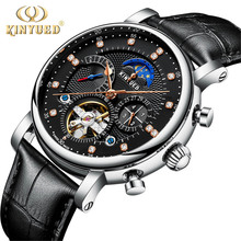 цена KINYUED Fashion Series Design Moon phase Silver Case Mens Watches Top Brand Luxury Tourbillion Diamond Display Automatic Watch онлайн в 2017 году