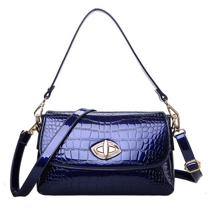 2018 New Fashion Alligator Pattern Women Handbag Luxury Patent Leather Cross-body Small Bags Shiny Shoulder Messenger bag
