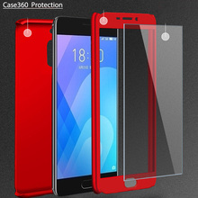 3-in-1 Plastic Case + Glass Protect Full Cover 360 for Meizu M6 M6S M5 Note M3 Note Cover Meizu Pro 7 Case +Tempered Glass Gift