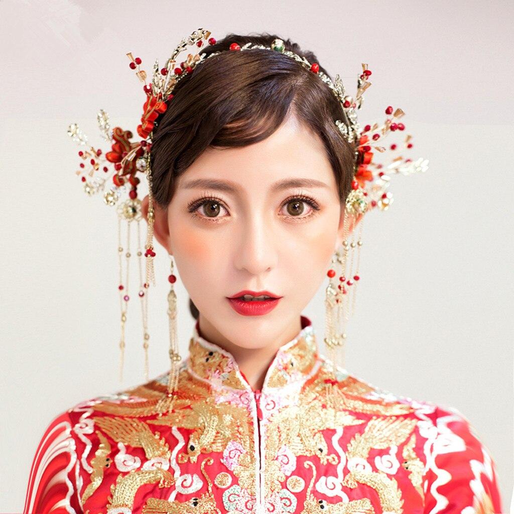 1 Set Chinese Bride Crown Hairpins Earrings Tiaras Wedding Bridal