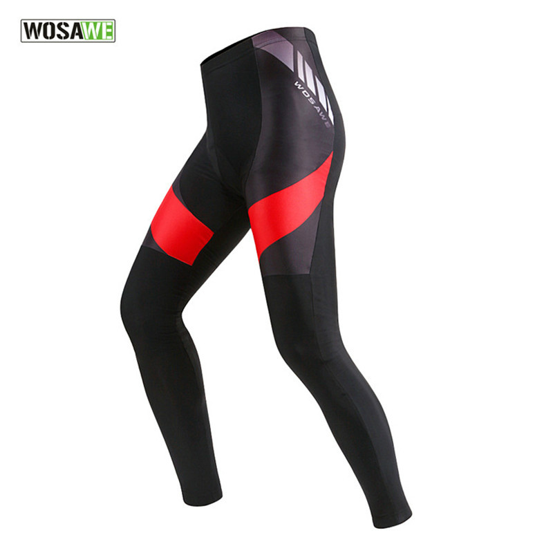 WOSAWE Mens Bicycle Cycling Clothing Bike 3D Gel Padded Compression Tights Cycling Pants Long Trousers Black Ropa Ciclismo