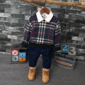 Baby Boys Long Sleeve T-shirt Plaid Cotton Kids England Shirts children clothes boys tops turn-down collar Children's Clothing