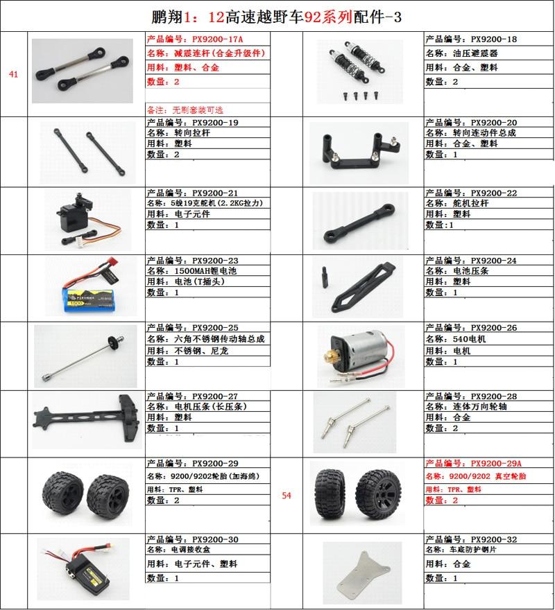 PX P9200 P9201 P9202 1:12 RC car 92 series accessories shock absorber servos tire|Parts & Accessories|   - AliExpress
